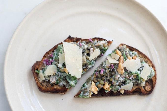 Lentils folded into Yogurt, Spinach, and Basil recipe