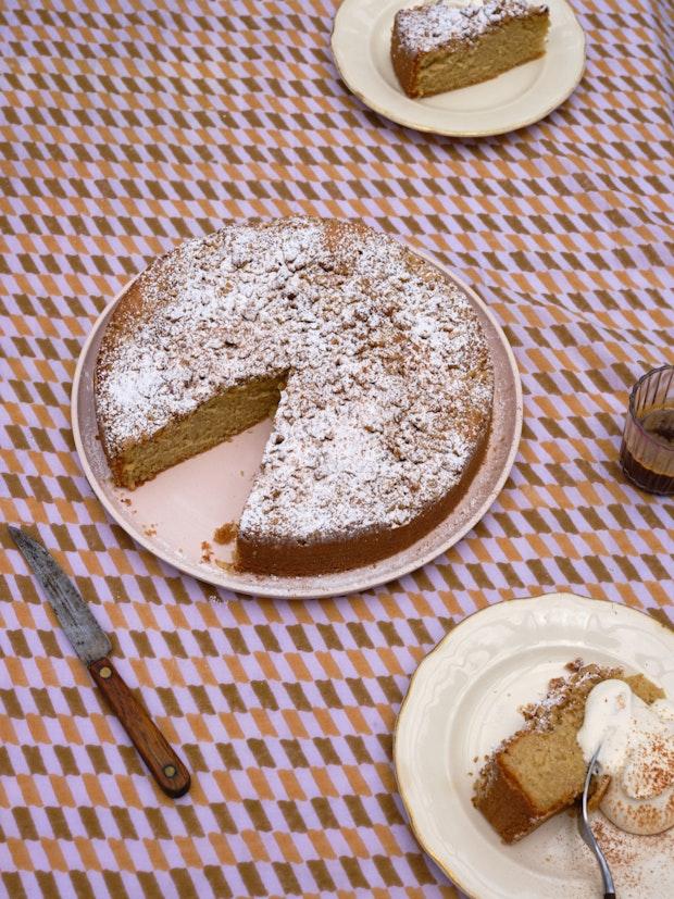 Walnut Nutmeg Butter Cake on Purple Tablecloth