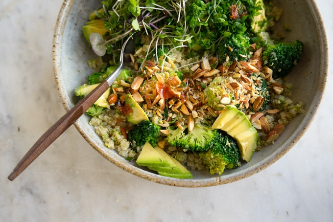 Vibrant Vegan Double Broccoli Buddha Bowl Recipe