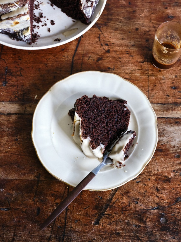 One slice of Chocolate Fudge & Tahini Cake