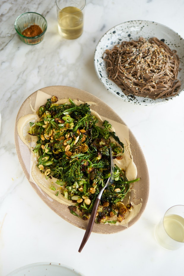 Curried Sheet Pan Broccoli with Peanuts and Tahini