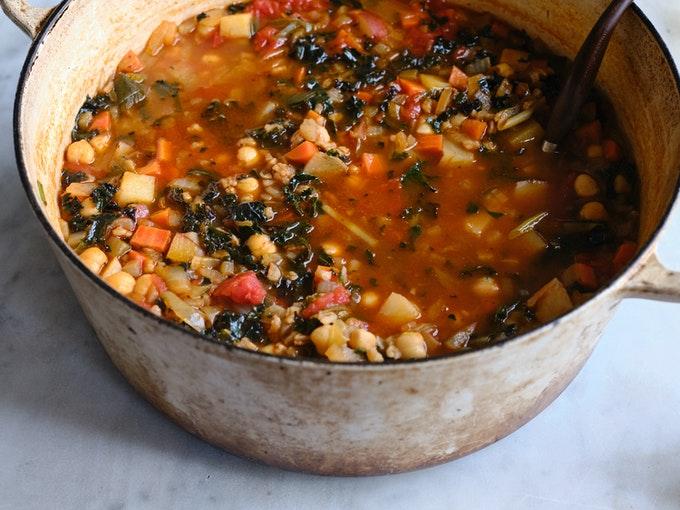 Simple Farro & Bean Soup