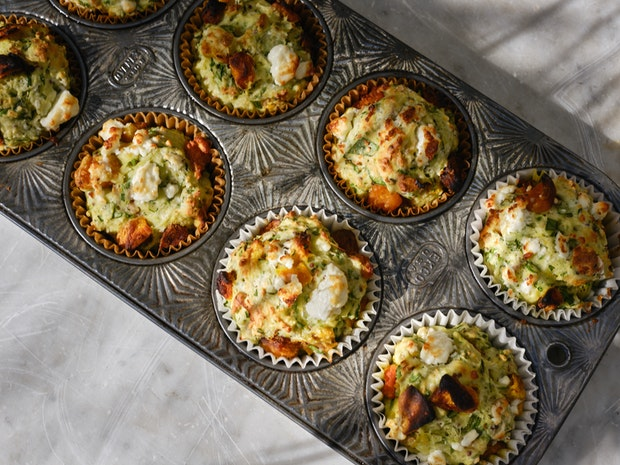Pumpkin and Feta Muffins with Sunflower Seeds