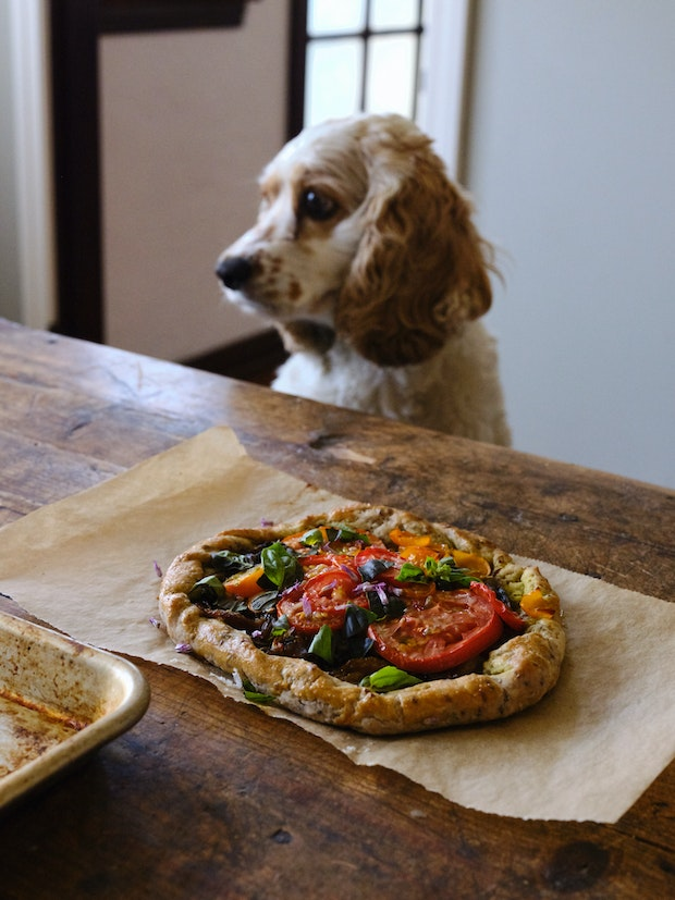Tomato Tarts on Parchment Paper