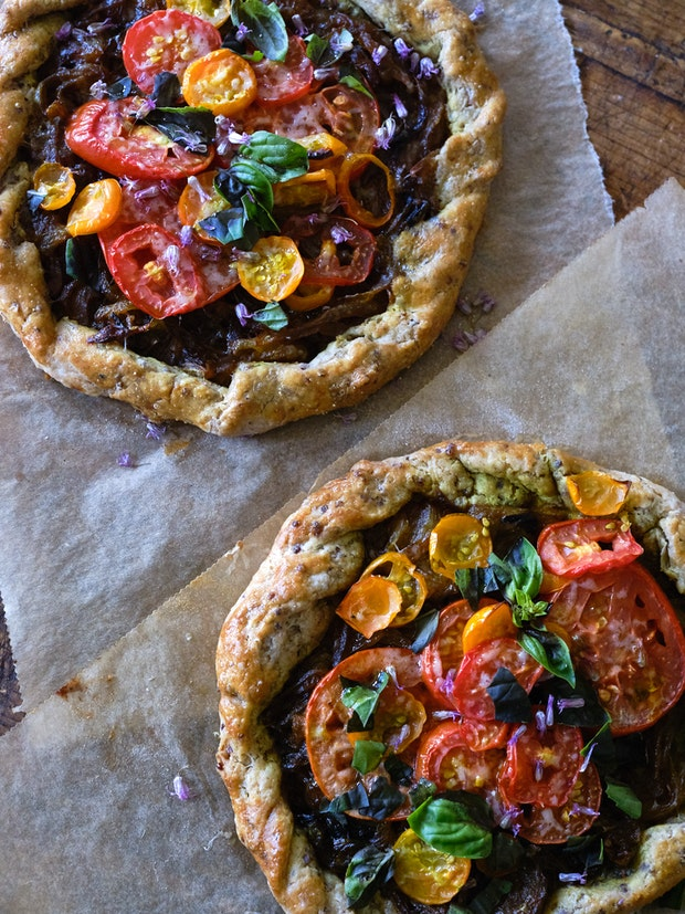 Close-up of Two Rustic Tomato Tarts