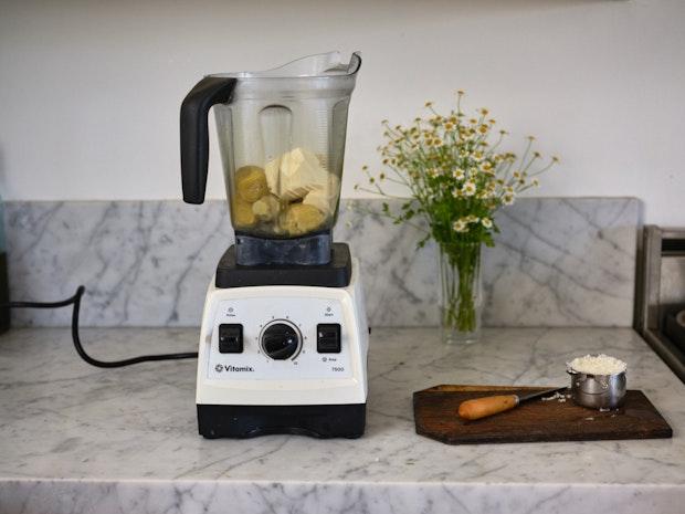 Artichoke Dip Ingredients in a Blender