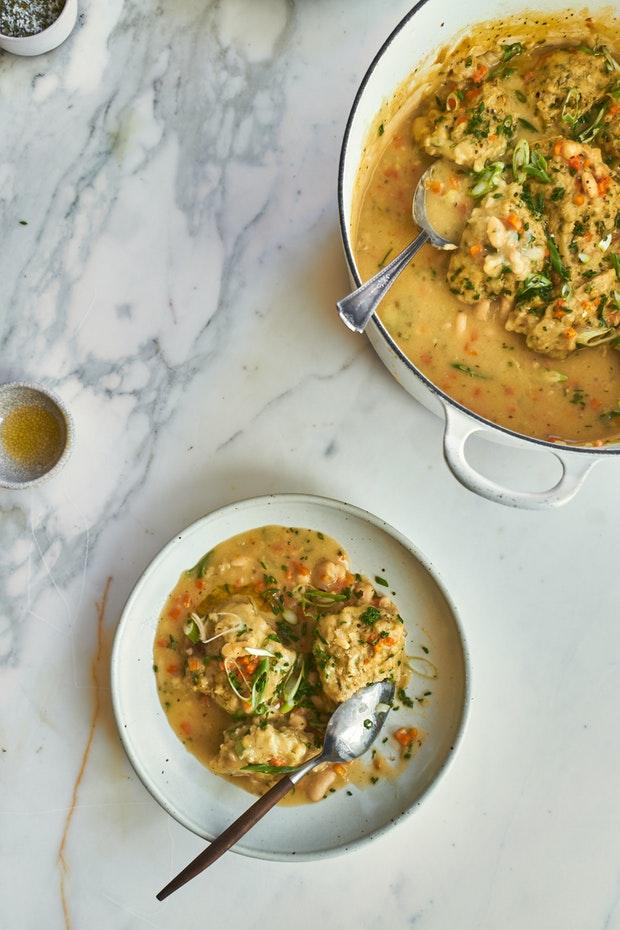 White Bean Soup with Pesto Herb Dumplings