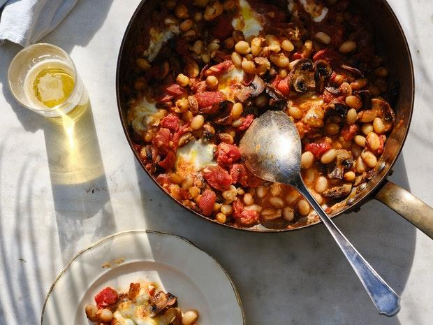 "Heirloom Bean and Mushroom ""Carnitas"" Casserole"