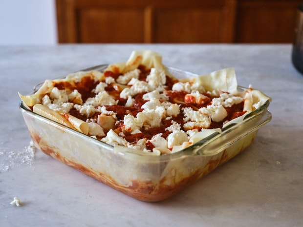 Unbaked Lasagna in Glass Baking Dish