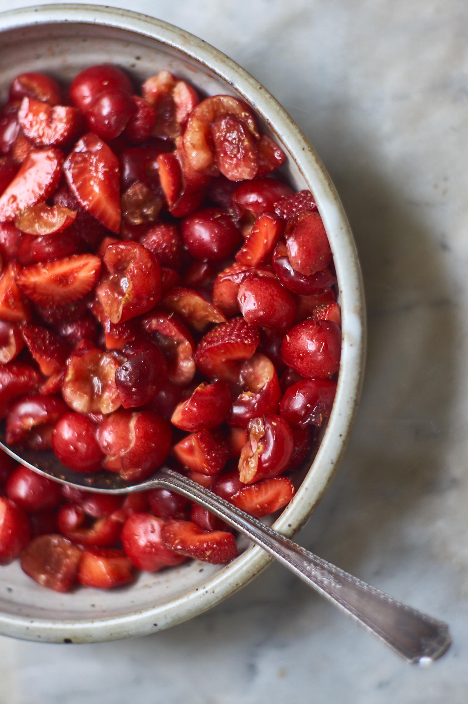 Simple Red Fruit Salad with Strawberries, Cherries, Lemon, and Brown Sugar
