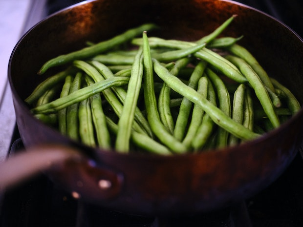 Green Beans in Copper Skillet