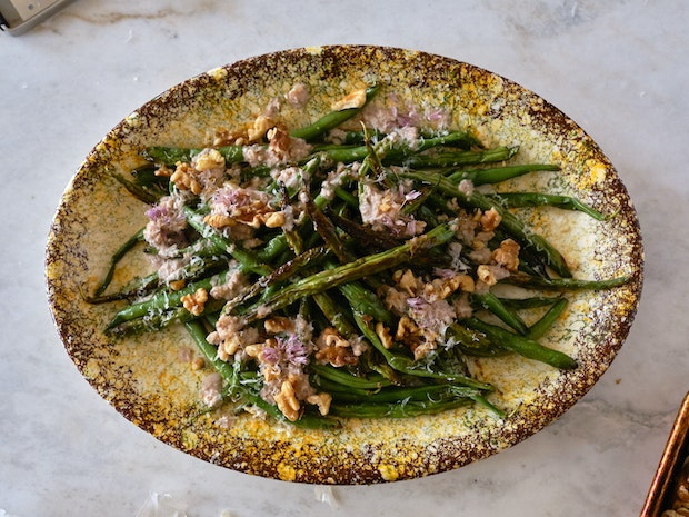 Blistered Green Beans with Walnut Sauce on a Platter