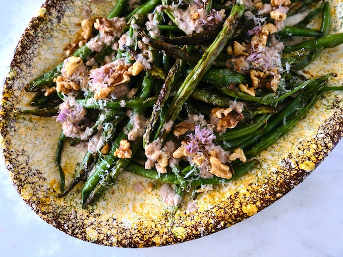 Blistered Green Beans with Walnut Sauce
