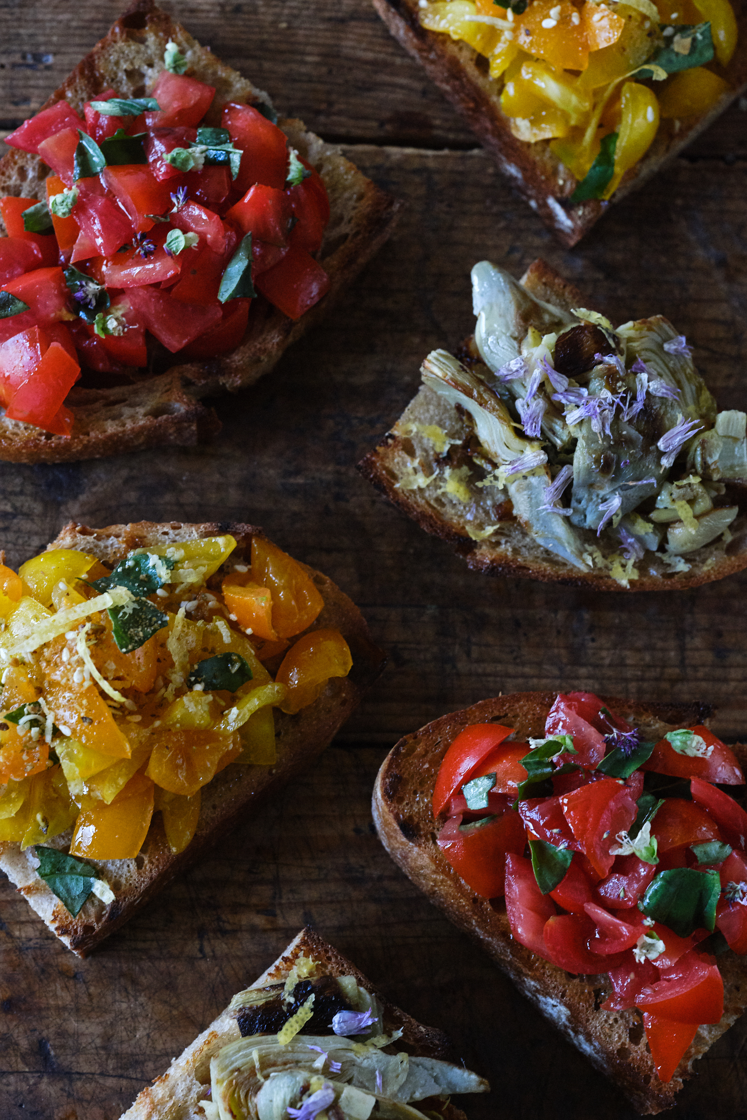 An Assortment of Simple Bruschetta