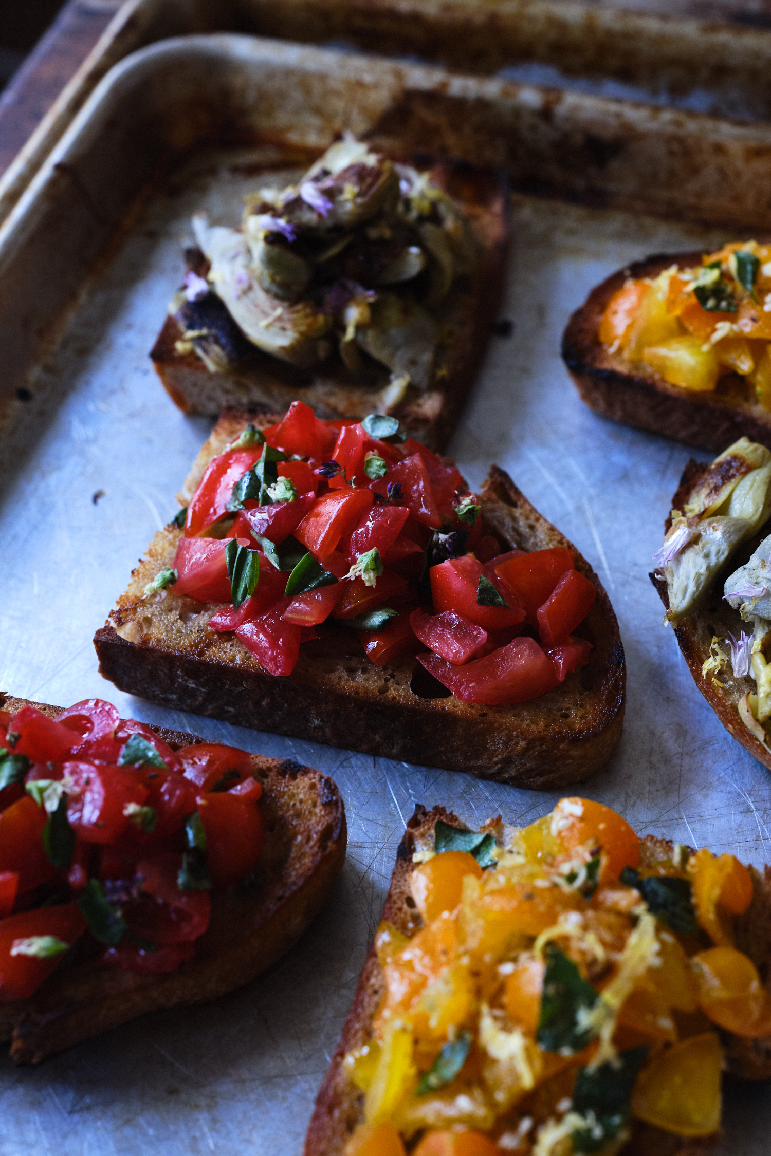 Bruschetta Made with Seasonal Tomatoes and Basil