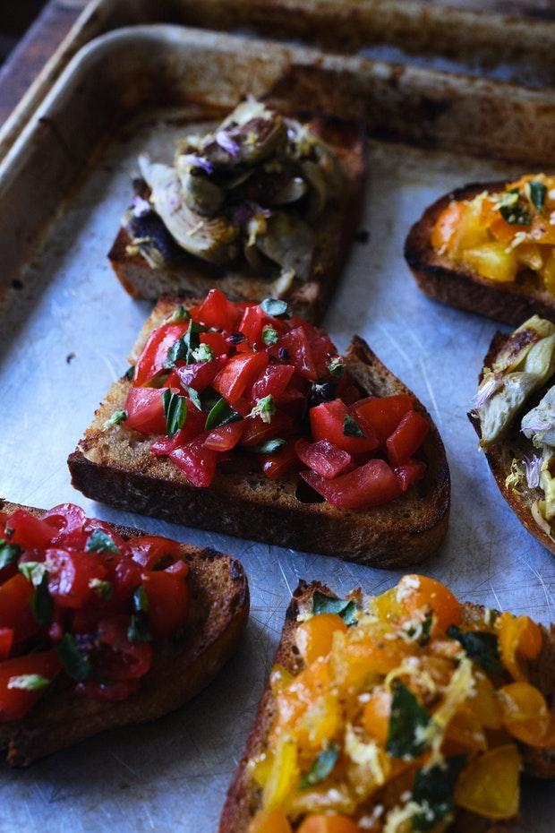 Bruschetta Made with Seasonal Tomatoes and Basil