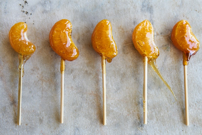 Two-ingredient Candied Citrus Lolipops