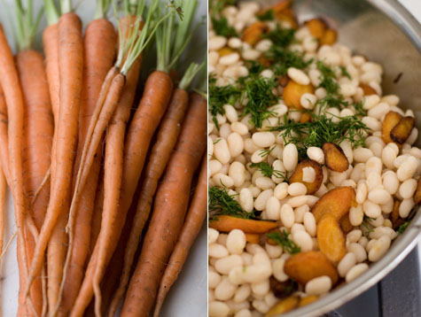 Baby carrots and white beans