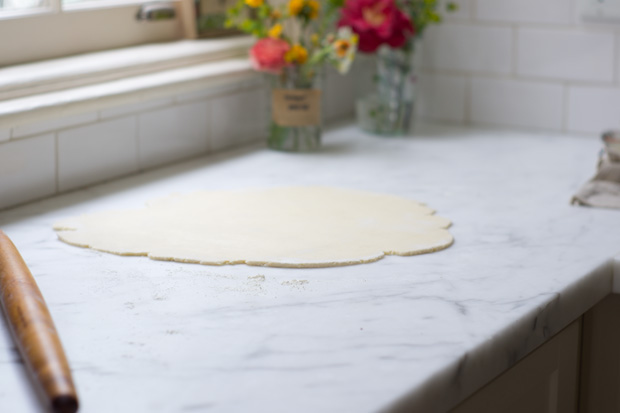 Dough rolled on Marble Counter