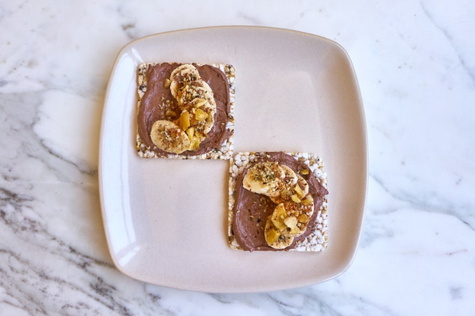 Chocolate Frosted Almond Butter Toast with Banana