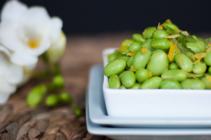 Edamame Salad with Shiso + Meyer Lemon Vinaigrette