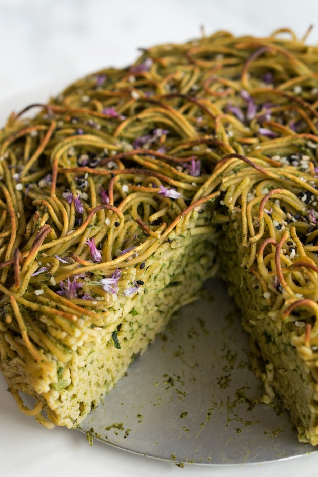 Green Spaghetti Pie Recipe