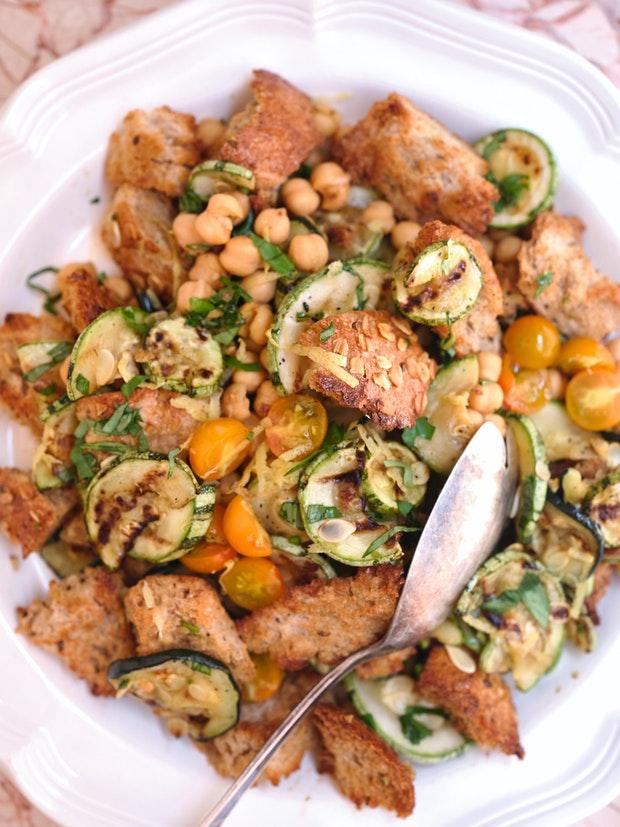 Grilled Zucchini Bread Salad