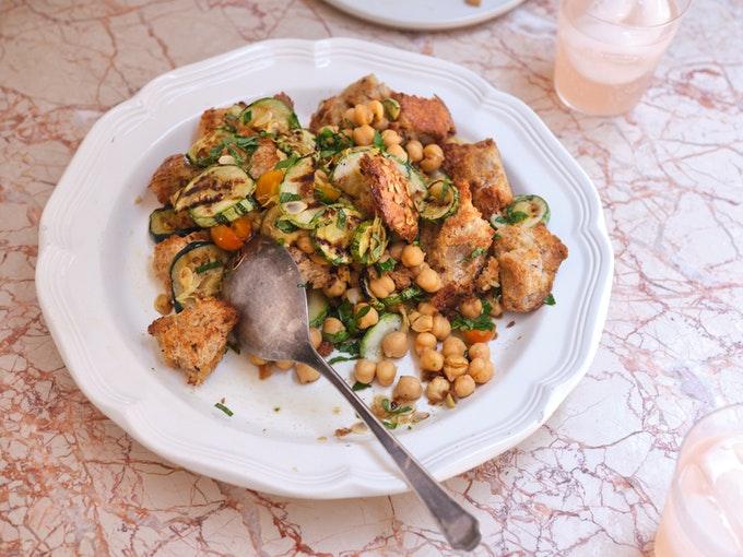 Grilled Zucchini & Bread Salad