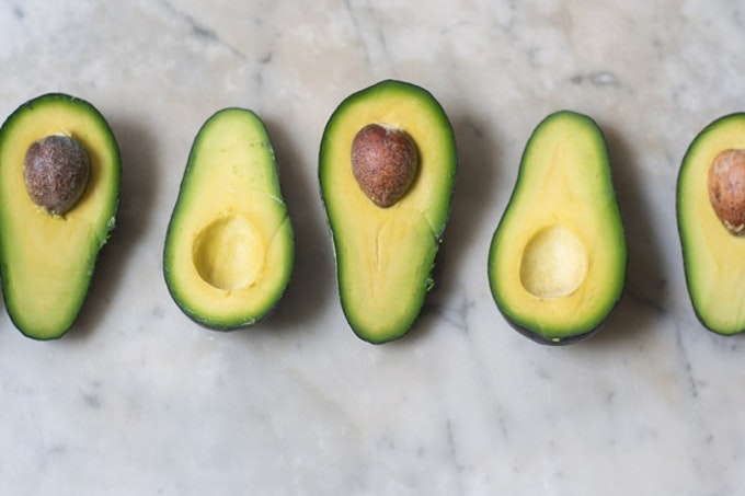 A Lineup of Ripe Avocado