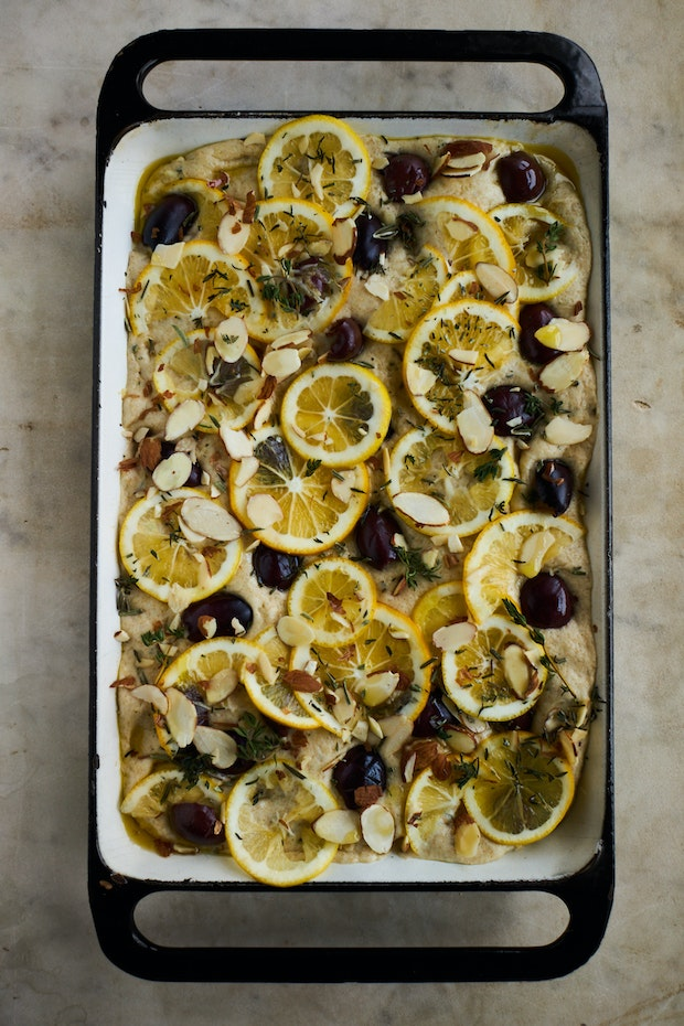 Meyer Lemon Focaccia with Hemp Seeds and Herbs