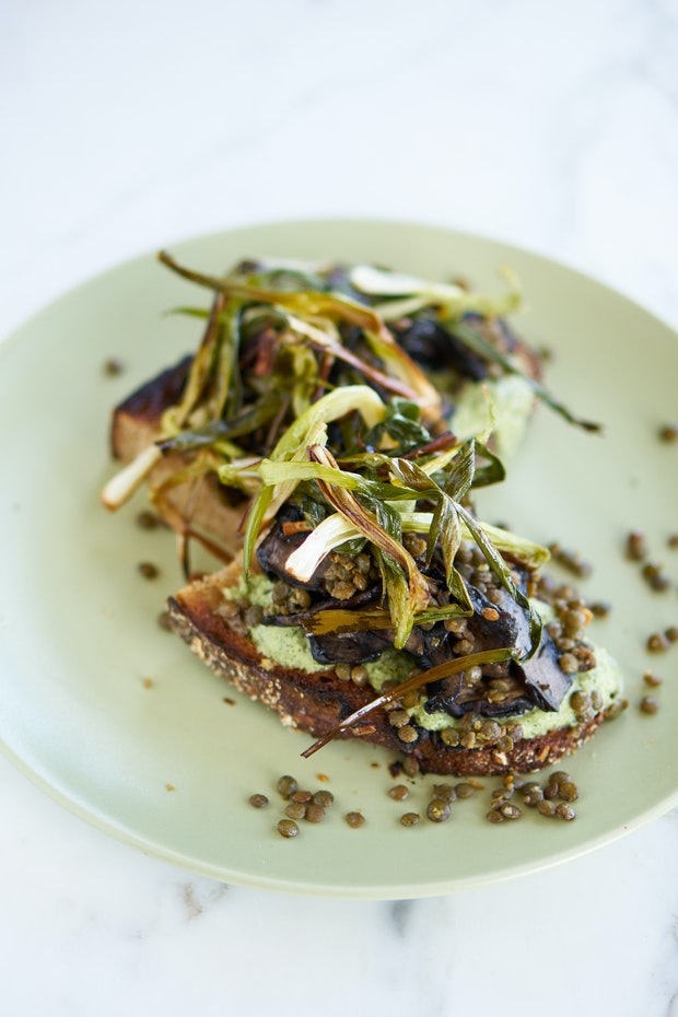 Mushroom and spring onion tartine with Poblano yoghurt