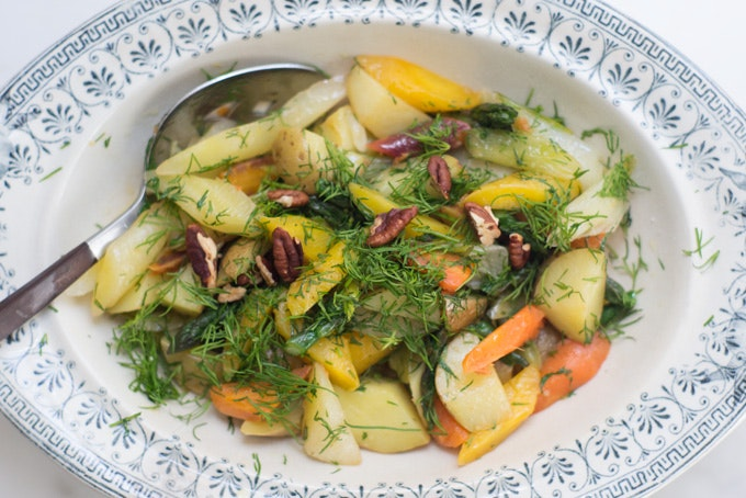 Olive Oil Braised Spring Vegetables Recipe