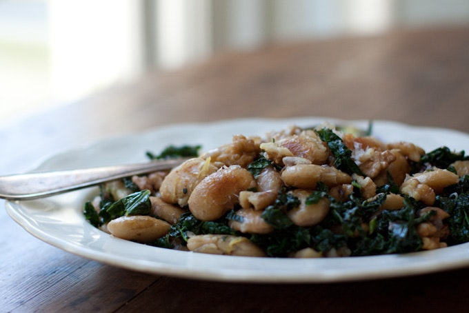 Pan-fried Corona Beans & Kale