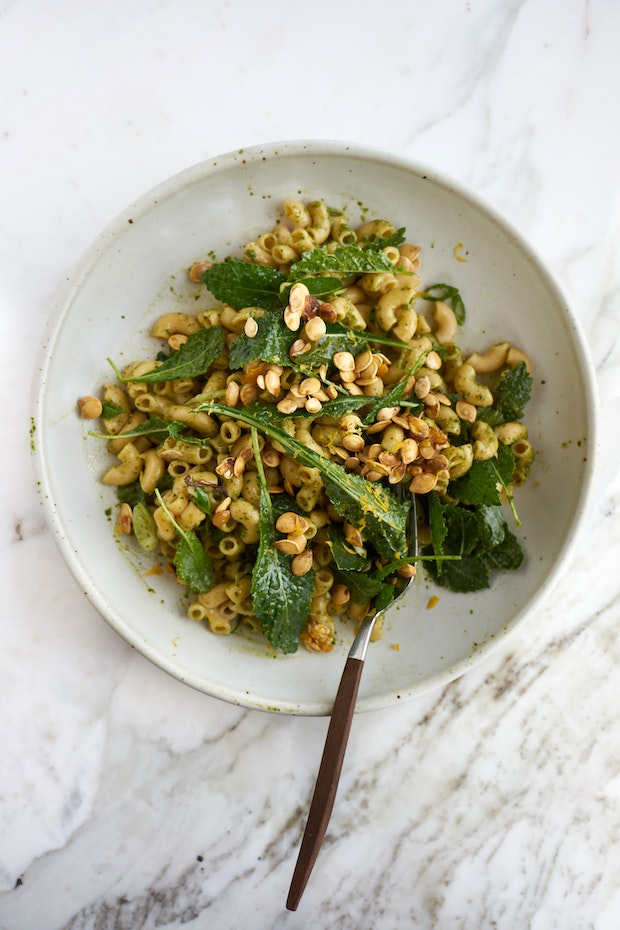 Pasta with Baby Kale, Toasted Pumpkin Seeds, and Pesto