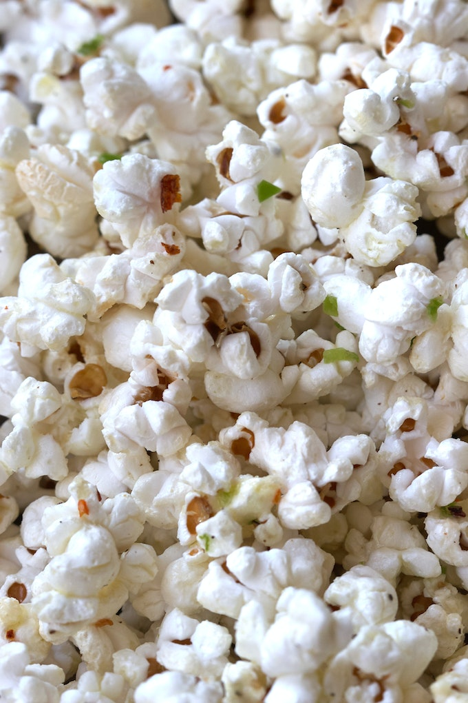 Homemade Popcorn in a Bowl after Popping