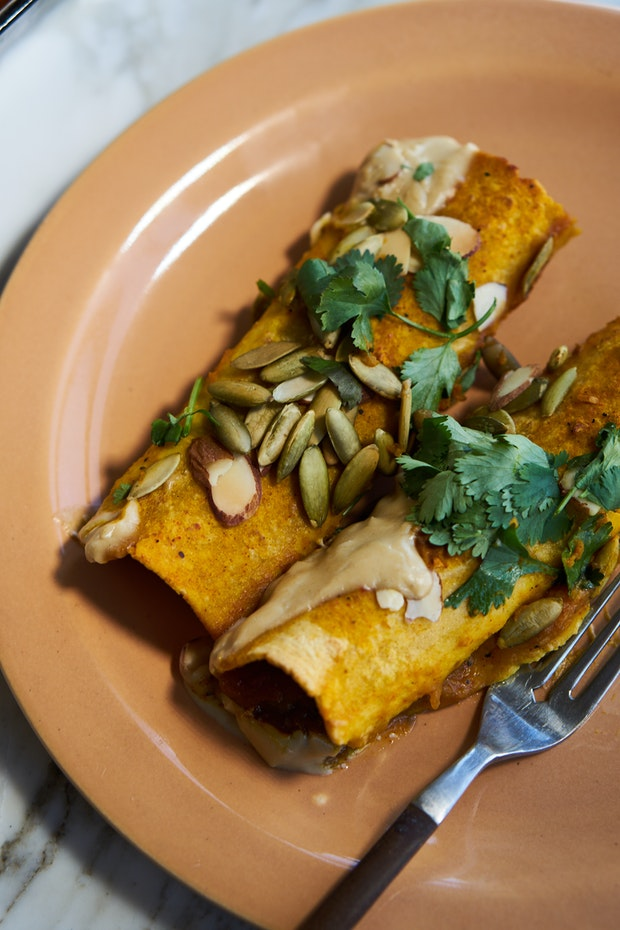 Quick Vegan Enchiladas with Sweet Potato Sauce