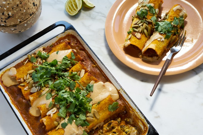 Quick Vegan Enchiladas with Sweet Potato Sauce