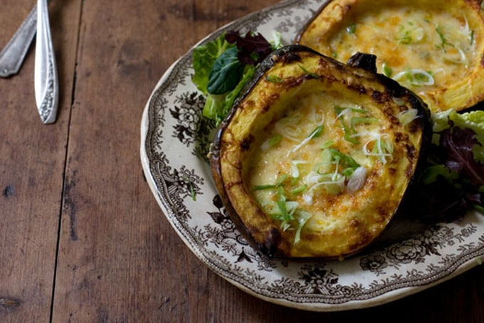 Roasted Corn Pudding in Acorn Squash