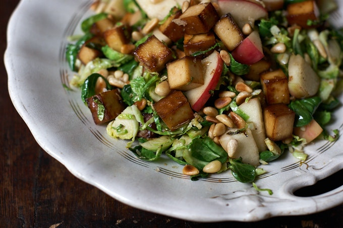 Caramelized Brussels Sprouts and Apples with Tofu