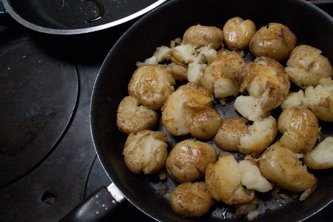 Lori's Skillet Smashed Potatoes