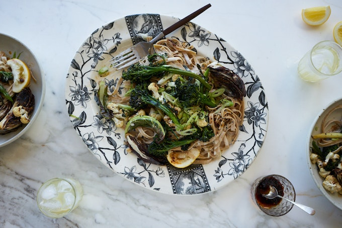 Spicy Tahini Noodles with Roasted Vegetables