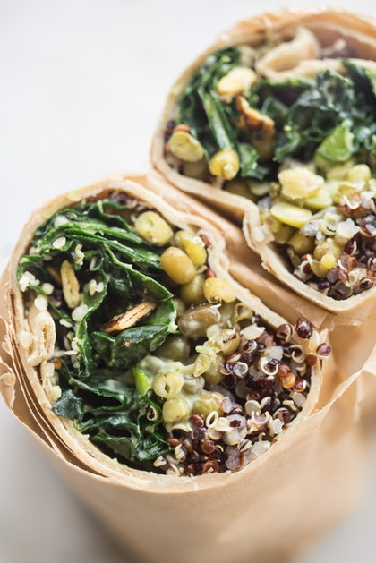 Make Ahead Super Green Vegan Quinoa Burritos