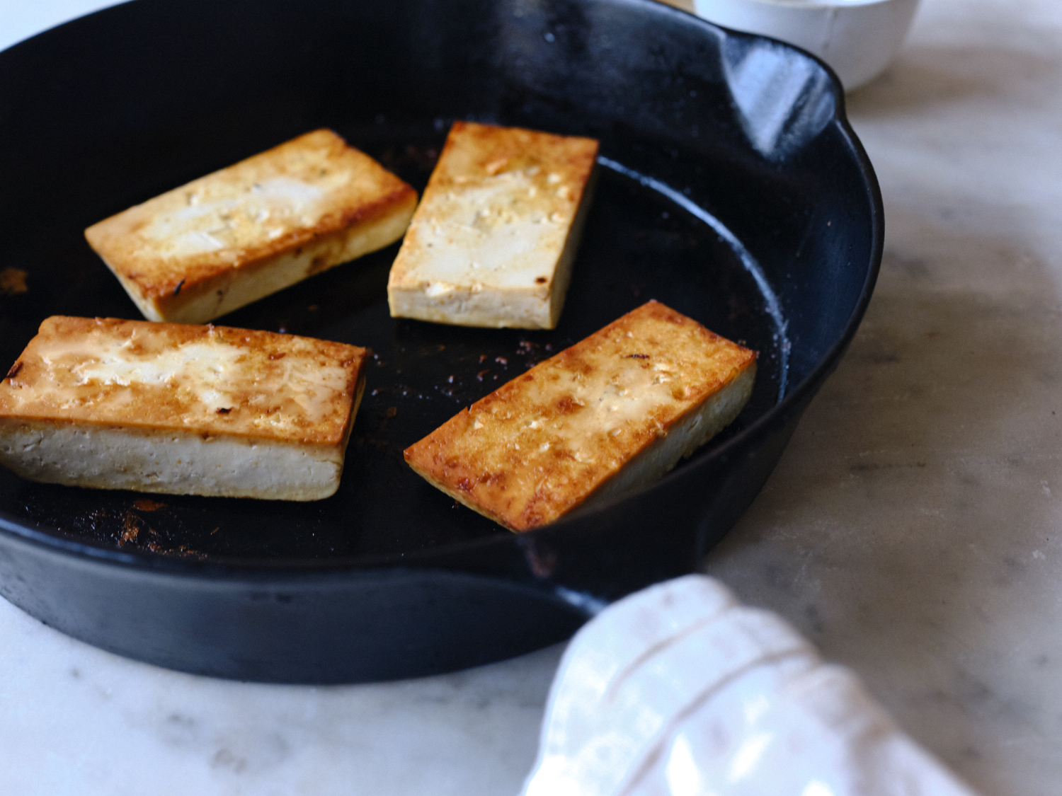 Tofu in Skillet for Vegan Sushi
